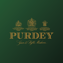 """Purdey Gun & Rifle Makers"" in gold letters on a white ground surmounted by three royal warrants"
