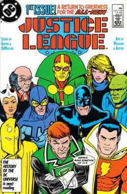 "The Leaguers all standing closely together looking to the camera with Guy Gardner saying, ""Wanna make something of it?"""