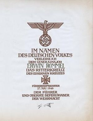 Knight's Cross of the Iron Cross - Award documentation