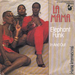 "La Mama (band) - First single ""Elephant Funk"" /   ""In and Out"" (1982) l-r: Kathy Bartney, Madeleine Davis, Patricia Shockley"