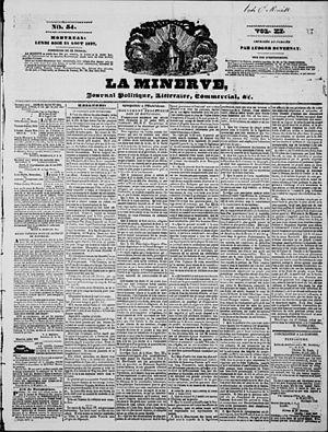 La Minerve - Image: La Minerve, August 21, 1837 front page