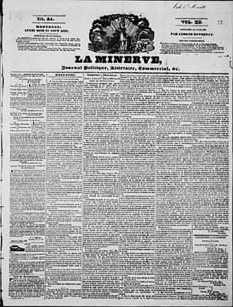 La Minerve - Front page of the August 21, 1837 of La Minerve, displaying the eponymous Minerva