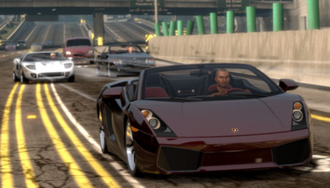 Midnight Club: Los Angeles - The main character in a Lamborghini Gallardo Spyder.