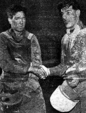 Eric Langton - Eric Langton (left) congratulating Van Praag after winning the 1936 World Final Race off
