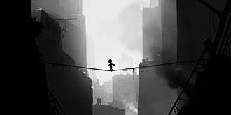Limbo (video game) - A pre-release development screenshot, showing the boy crossing a dangerous chasm on a rope bridge. The game's art style and presentation have been consistent through the game's development cycle.