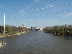 Little Arkansas River - The confluence of the Little Arkansas and Arkansas rivers in Wichita, Kansas.