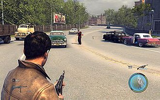 Mafia II - The player character engaging in a gunfight with the authorities. Police awareness in the game works in a similar manner as with the previous game, although the player can now bribe after committing an offense.