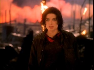 Earth Song - Jackson walking in a burnt down forest. This section of the music video was simulated in a corn field.