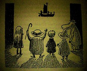 Moominvalley in November - One of Jansson's illustrations from the book, depicting (from left to right), Mymble, Grandpa-Grumble, Toft, Snufkin and the Hemulen watching the Fillyjonk's shadow puppet show.