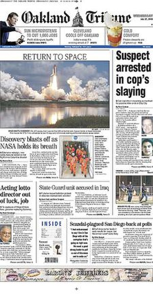 Oakland Tribune - The July 27, 2005 front page of The Oakland Tribune