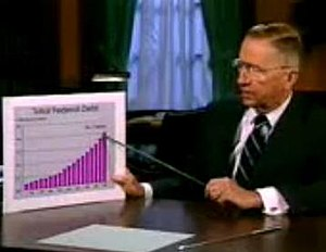 "Ross Perot presidential campaign, 1992 - Perot showing a chart of the federal budget deficit in his first infomercial. During the broadcast, he named his pointer a ""voodoo stick"", a play on ""voodoo economics"""
