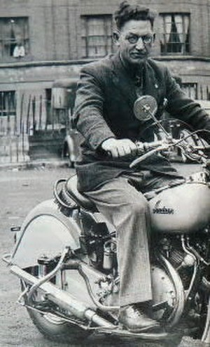 Phil Irving - Phil Irving on the 1949 prototype 'Vindian', an American Indian rolling chassis fitted with an English Vincent Rapide engine