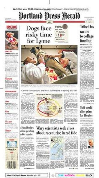 Portland Press Herald - Image: Portland Press Herald front page