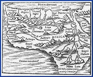 Draa River - Ptolemy's map of Africa. The River Draa, Dara fl. is in the center of the map, just south of the mountain range, above the word Garamantes. fl. is an abbreviation for flumen, Latin river.