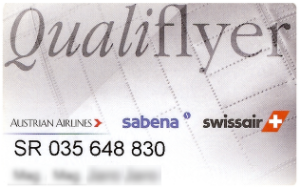 Qualiflyer - Basic account card.  Other levels have similar but different coloured cards