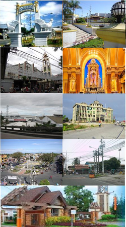 (From top: Left to right)Manok ni San Pedro, San Pedro Gateway Park, Santuario de Jesús En el Santo Sepulcro, San Pedro Apostol Parish (inside), Alaska Milk Corporation, San Pedro City Hall, City Plaza, Pacita Complex, and South Peak Village