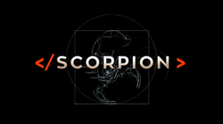 "The series title ""Scorpion"" in white letters on a black background"