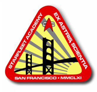 "Starfleet Academy - The official logo of Starfleet Academy, circa 2375. The Roman numerals refer to its founding year of 2161. The Latin words ex astris scientia translate to ""From the stars, knowledge"""
