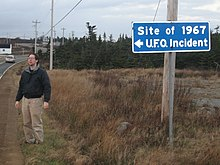 Highway sign noting the location of the UFO incident.