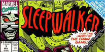 The top third of issue 7 of Sleepwalker. The logo is red and black on a green background. The icon identifying the issue as crossover is blue with white text. Two sides of the triangle is formed by the top and right edges of the page. The sides are approximately one inch in length.