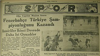 Turkish Football Federation - Turkish newspaper Son Posta announcing the Turkish championship title of Fenerbahçe on 9 September 1935.