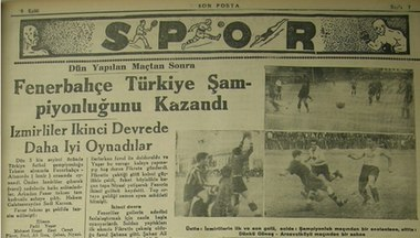 Turkish newspaper Son Posta announcing the Turkish championship title of Fenerbahçe on 9 September 1935