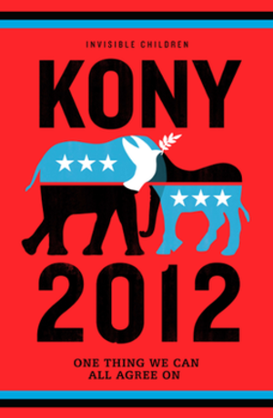 Kony 2012 - Promotional poster for the video, featuring stylized forms of the donkey symbolizing the Democratic Party and the elephant symbolizing the Republican Party, overlapping to form a white dove of peace.