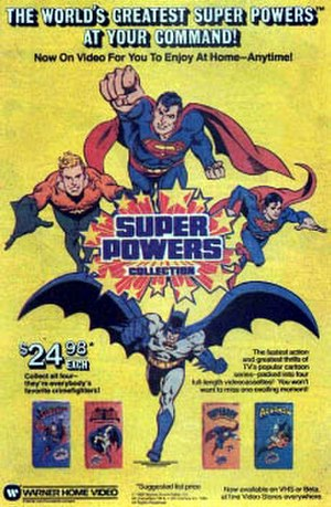 Super Powers Collection - An advertisement for the Warner Home Video video cassettes.