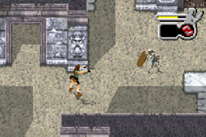 Tomb Raider: The Prophecy - Lara Croft faces off against a skeleton warrior in King Heort's Tomb.  Her health and choice of weaponry is visible in the top right.