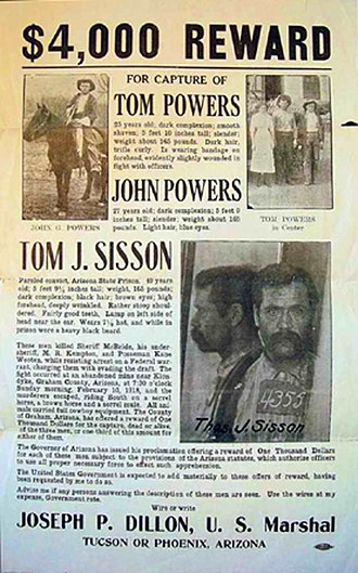 Power's Cabin shootout - A United States Marshals wanted poster for Tom Sisson and the Power brothers.