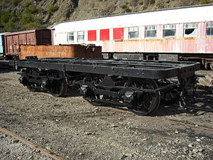 Wellington and Manawatu Railway Trust - No.9s tender chassis reassembled and on the rails for the first time since it was dumped. Taken on May 21st 2009.