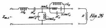 An original drawing by Zobel of a band-pass filter used for impedance matching