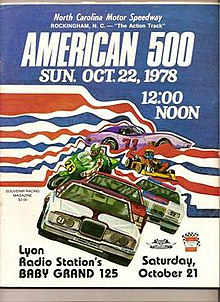 This is a program from the 1978 running of the American 500.