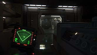 Alien: Isolation - The player can use the motion tracker to track the alien's location. When motion was detected in front of the tracker, a circle would appear on its screen, indicating where the motion was detected.