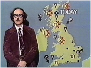 Michael Fish presents a weather forecast in 1974.