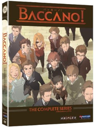 "A DVD cover. A brown bar at the top reads ""Baccano!"" in red text; another brown bar at the bottom displays ""The Complete Series"", also in red. Between the two bars is a picture of a group of nine men, three women and a boy."