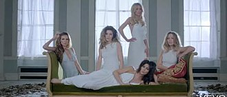Beautiful 'Cause You Love Me - A scene of the video where Girls Aloud join each other in a living room.