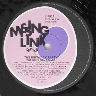 Missing Link Records - Image: Birthdayparty 1 lp side 1