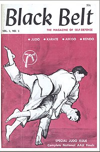 Cover art from the first issue of Black Belt magazine depicting two judoka performing a throw.
