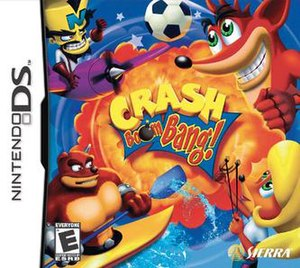 Crash Boom Bang! - North American box art depicts, in clockwise order, Crash, Coco, Crunch, and Cortex