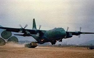 Low-altitude parachute-extraction system - A C-130 performing a Low Altitude Parachute Extraction.