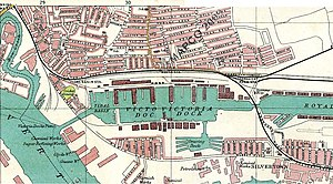 Eleanor Hibbert - Map 1908, showing Eleanor Hibbert's birthplace Canning Town to the north of Royal Victoria Dock.