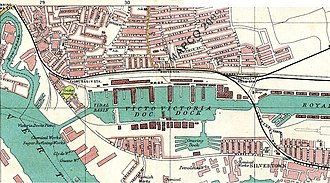 Canning Town - Map 1908, showing Canning Town to the north of Royal Victoria Dock and Silvertown to the south of the dock.
