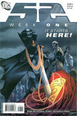 52 (comics) - Cover of 52 Week 1 (May 10, 2006). Art by J. G. Jones.
