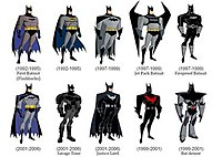 Batman's different costumes throughout the DC animated universe.