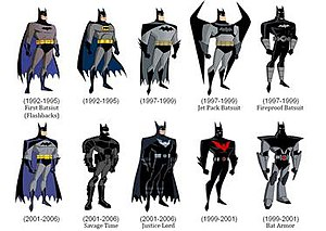DC animated universe - Batman's various character designs from the DCAU; he has been the most-featured character in this animated continuity, due to being the star of the original TV series in the DCAU.