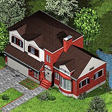 "A pixelated, isometric view of a red brick house white highlights and brown trim. The number ""2"" is over the door and there is a lush green field and a small pond surrounding the house."