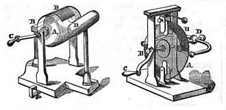 Golding Bird - Friction electrostatic generators: cylinder (left) and disc (right) designs. According to Bird, the disc design has a greater power output, while the simpler construction of the cylinder makes it easier to operate.