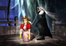 In an underground environment on top of an ancient altar, a silver-haired man in black clothing has just used his long sword to stab a brown-haired woman in red clothing through the chest and now withdraws it.