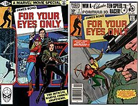 "Two comic books covers, both titled ""FOR YOUR EYES ONLY"". The cover on the left shows a man with a pistol, with a blonde woman in front of him. In front of both of them a brunette woman holds a crossbow. The cover on the right shows the same man and brunette woman abseiling on a cliff, with two guns in the foreground pointing at them."